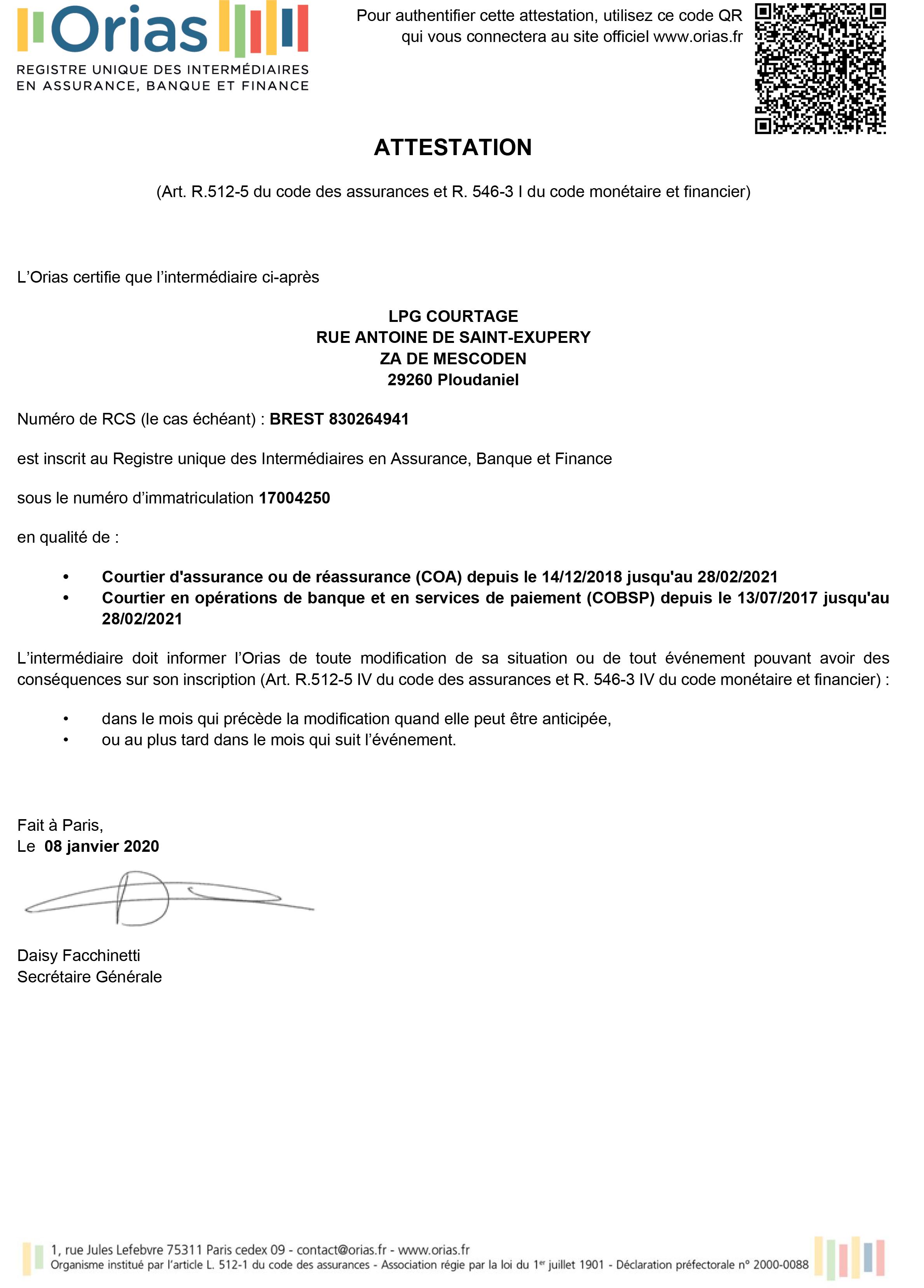 Attestation ORIAS LPG COURTAGE - Finistère